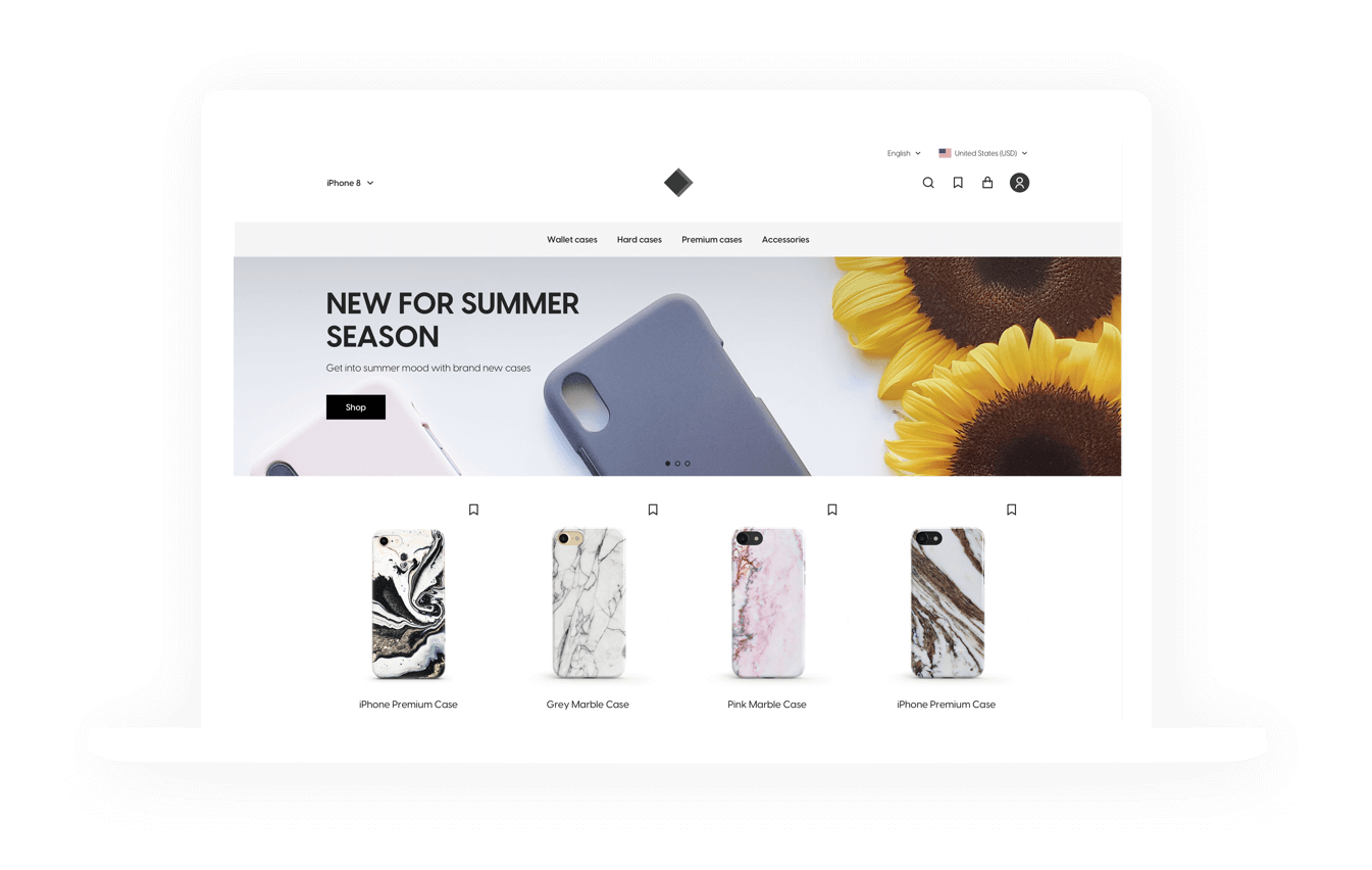 Online phone case retailer. A platform for selling designer phone cases